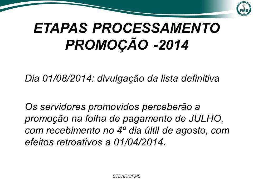 ETAPAS PROCESSAMENTO PROMOÇÃO -2014 Dia 01/08/2014: divulgação da lista definitiva Os servidores promovidos perceberão a promoção na folha de pagamento de JULHO, com recebimento no 4º dia últil de agosto, com efeitos retroativos a 01/04/2014.