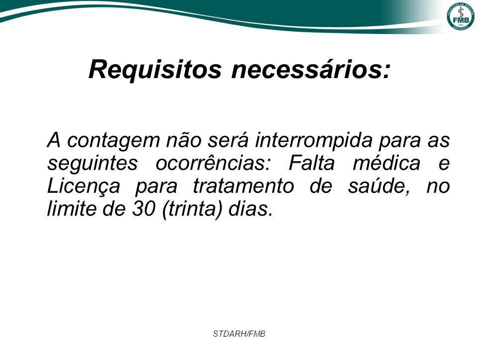 STDARH/FMB Requisitos necessários: A contagem não será interrompida para as seguintes ocorrências: Falta médica e Licença para tratamento de saúde, no limite de 30 (trinta) dias.