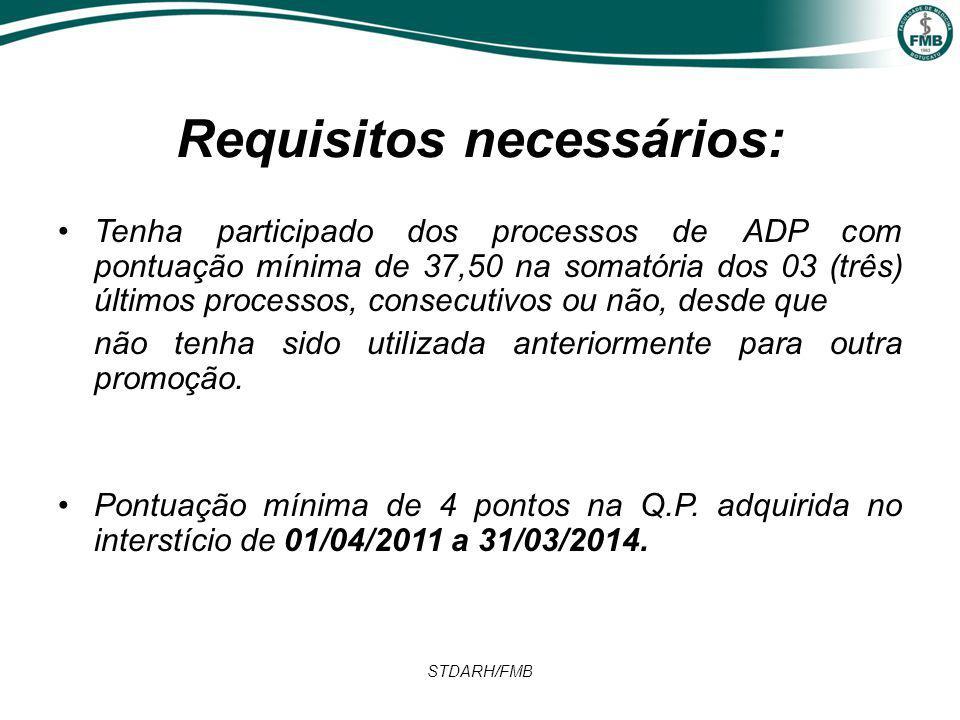 STDARH/FMB Requisitos necessários: Tenha participado dos processos de ADP com pontuação mínima de 37,50 na somatória dos 03 (três) últimos processos, consecutivos ou não, desde que não tenha sido utilizada anteriormente para outra promoção.