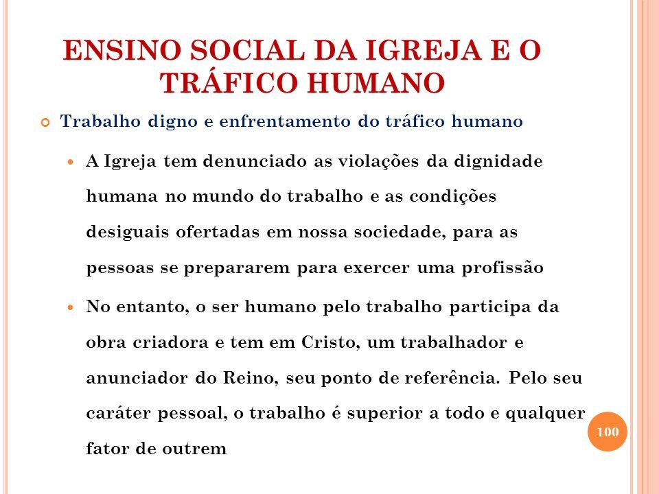 ENSINO SOCIAL DA IGREJA E O TRÁFICO HUMANO Trabalho digno e enfrentamento do tráfico humano A Igreja tem denunciado as violações da dignidade humana n