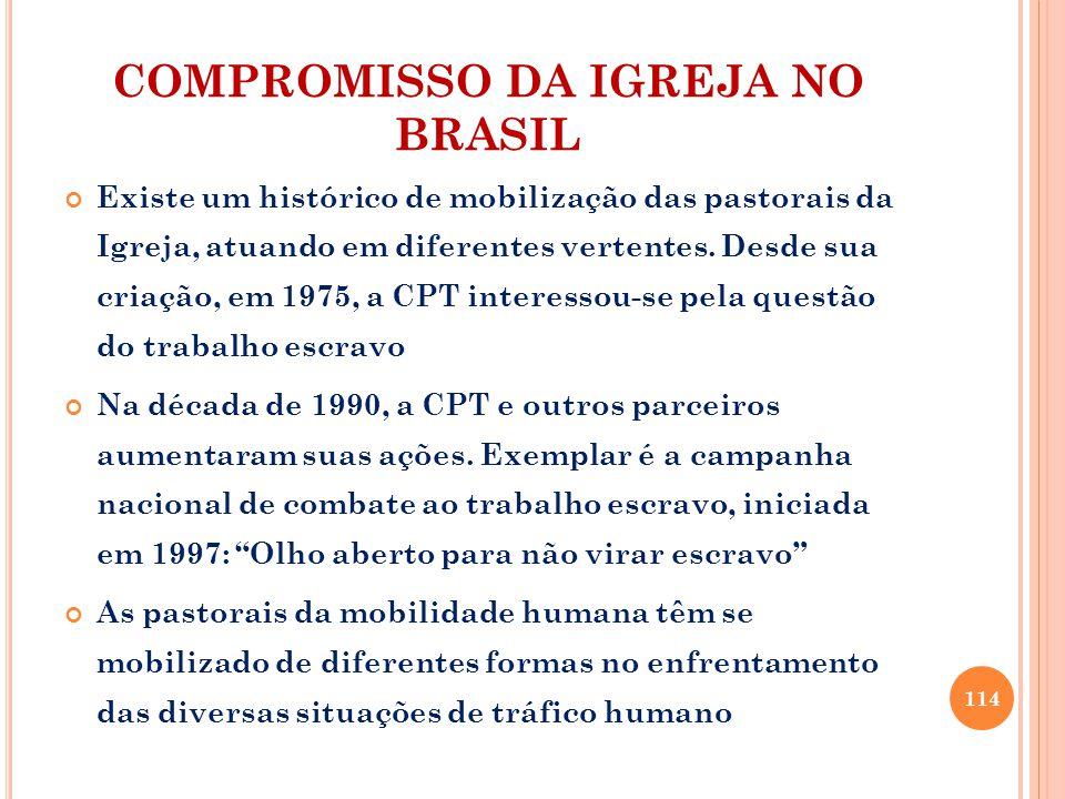 COMPROMISSO DA IGREJA NO BRASIL Existe um histórico de mobilização das pastorais da Igreja, atuando em diferentes vertentes.