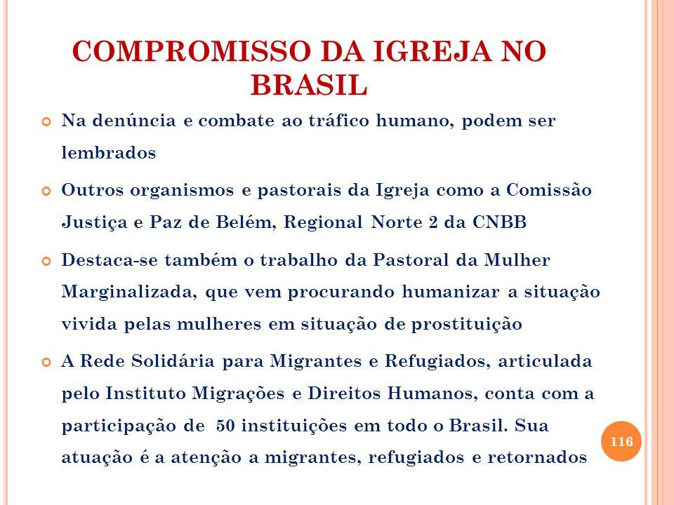 COMPROMISSO DA IGREJA NO BRASIL Na denúncia e combate ao tráfico humano, podem ser lembrados Outros organismos e pastorais da Igreja como a Comissão J