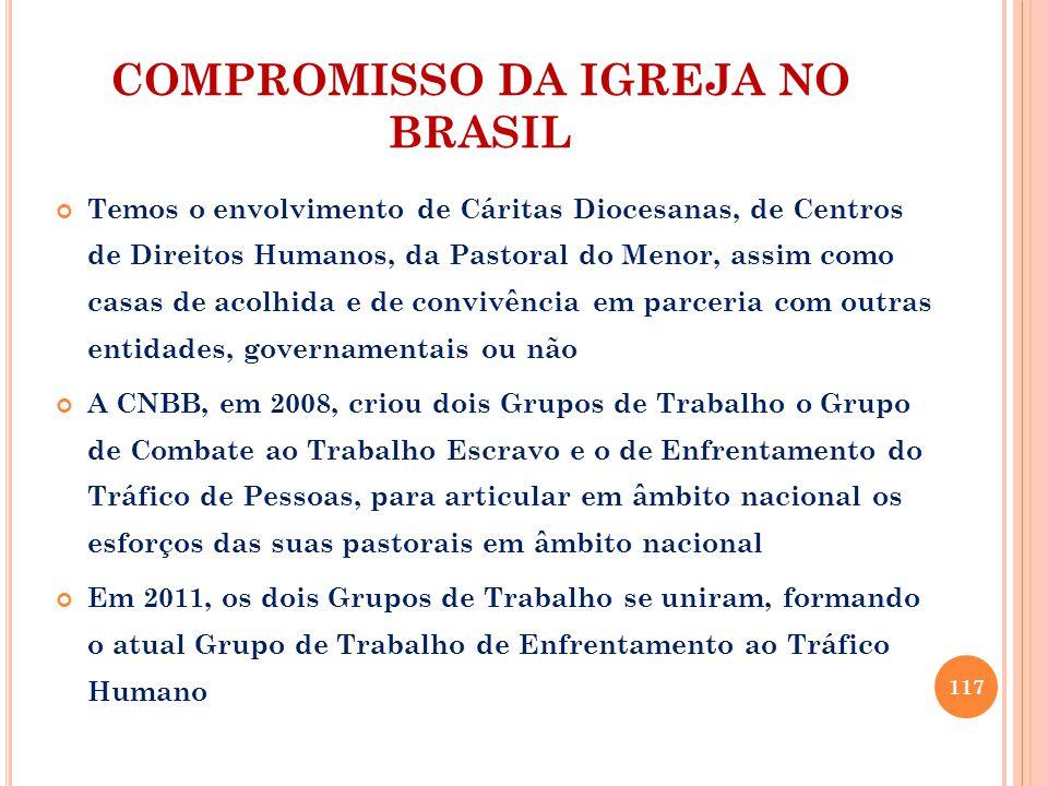 COMPROMISSO DA IGREJA NO BRASIL Temos o envolvimento de Cáritas Diocesanas, de Centros de Direitos Humanos, da Pastoral do Menor, assim como casas de