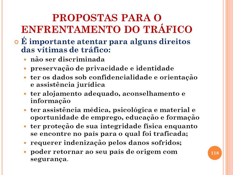 PROPOSTAS PARA O ENFRENTAMENTO DO TRÁFICO É importante atentar para alguns direitos das vítimas de tráfico: não ser discriminada preservação de privac