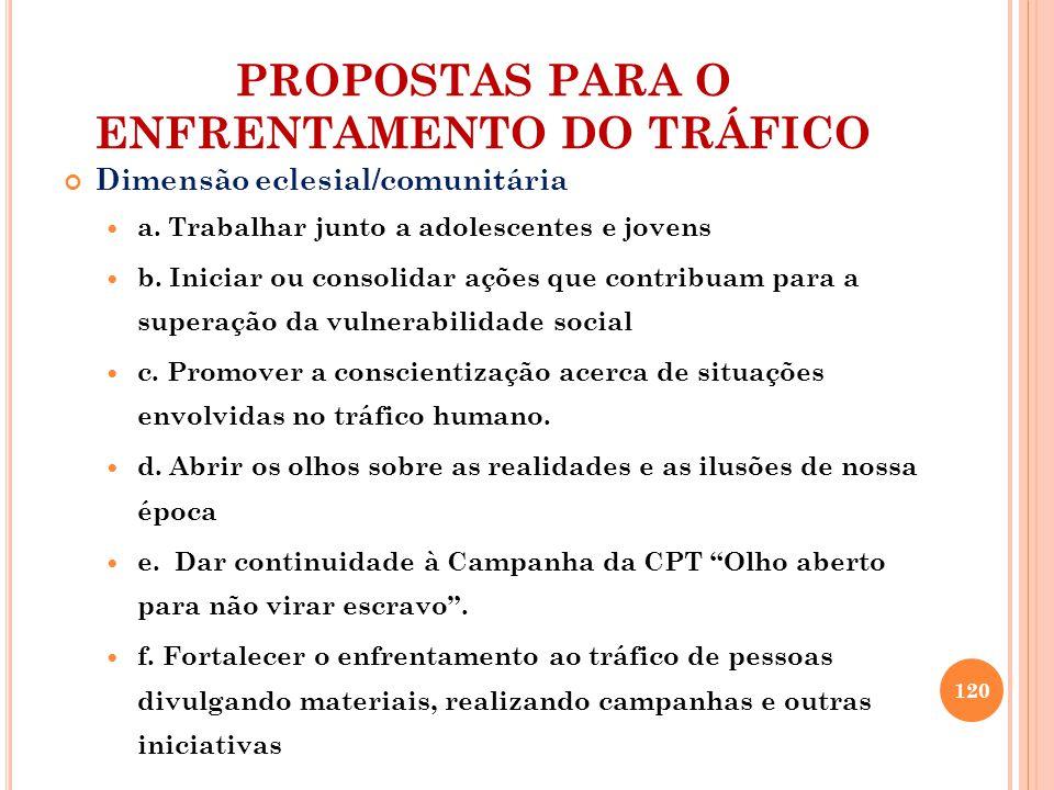 PROPOSTAS PARA O ENFRENTAMENTO DO TRÁFICO Dimensão eclesial/comunitária a.