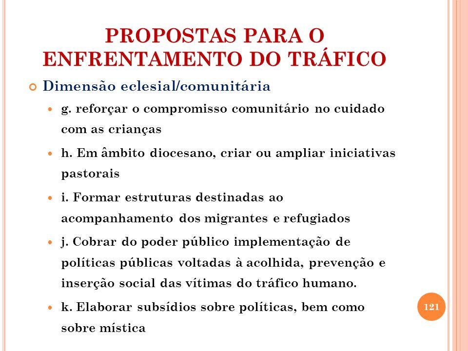 PROPOSTAS PARA O ENFRENTAMENTO DO TRÁFICO Dimensão eclesial/comunitária g.