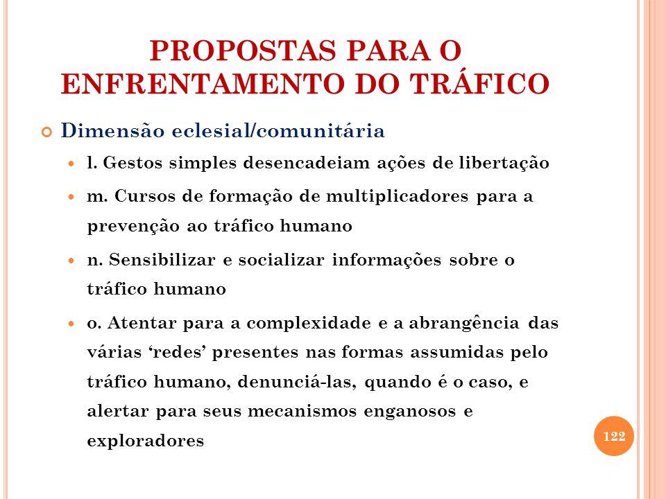 PROPOSTAS PARA O ENFRENTAMENTO DO TRÁFICO Dimensão eclesial/comunitária l.