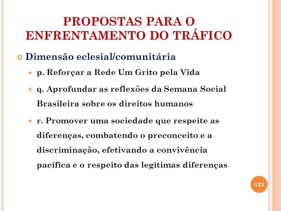 PROPOSTAS PARA O ENFRENTAMENTO DO TRÁFICO Dimensão eclesial/comunitária p.