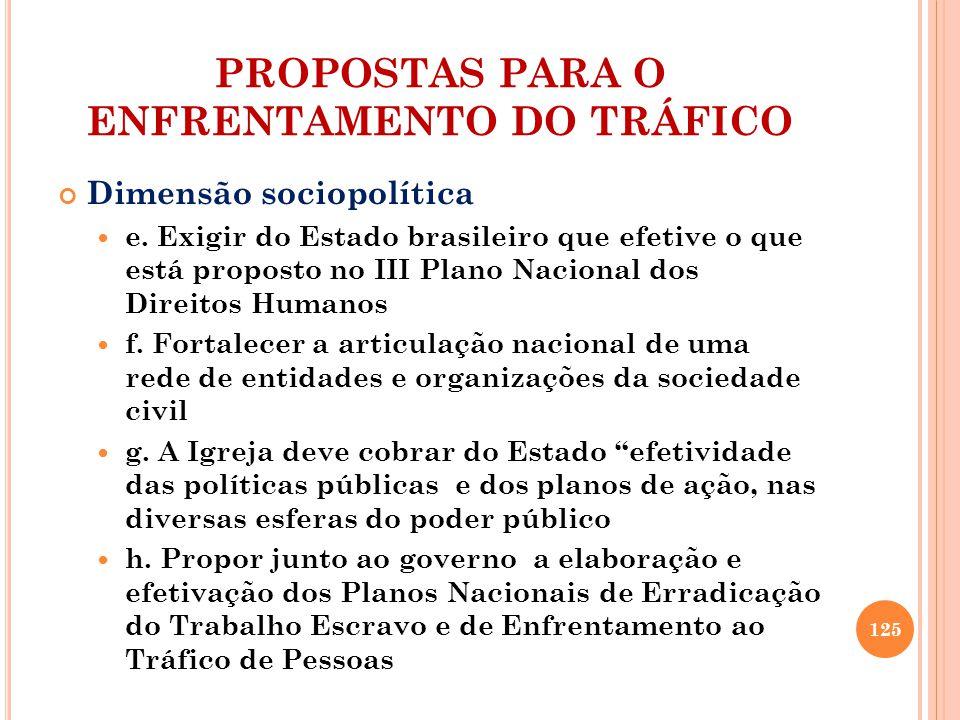 PROPOSTAS PARA O ENFRENTAMENTO DO TRÁFICO Dimensão sociopolítica e. Exigir do Estado brasileiro que efetive o que está proposto no III Plano Nacional