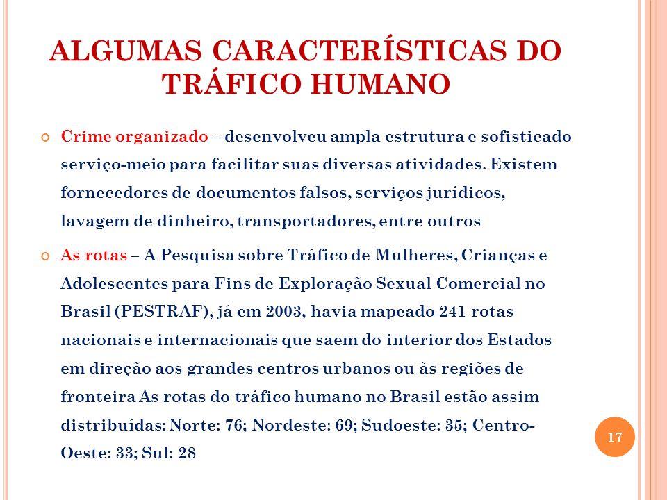ALGUMAS CARACTERÍSTICAS DO TRÁFICO HUMANO Crime organizado – desenvolveu ampla estrutura e sofisticado serviço-meio para facilitar suas diversas atividades.