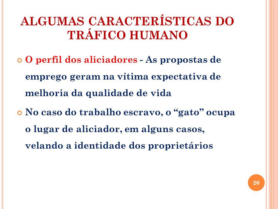 ALGUMAS CARACTERÍSTICAS DO TRÁFICO HUMANO O perfil dos aliciadores - As propostas de emprego geram na vítima expectativa de melhoria da qualidade de v