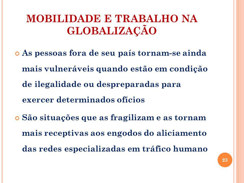 MOBILIDADE E TRABALHO NA GLOBALIZAÇÃO As pessoas fora de seu país tornam-se ainda mais vulneráveis quando estão em condição de ilegalidade ou desprepa