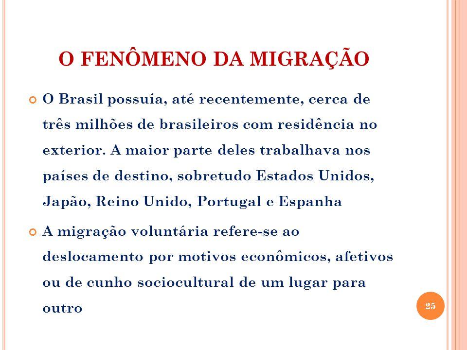 O FENÔMENO DA MIGRAÇÃO O Brasil possuía, até recentemente, cerca de três milhões de brasileiros com residência no exterior. A maior parte deles trabal