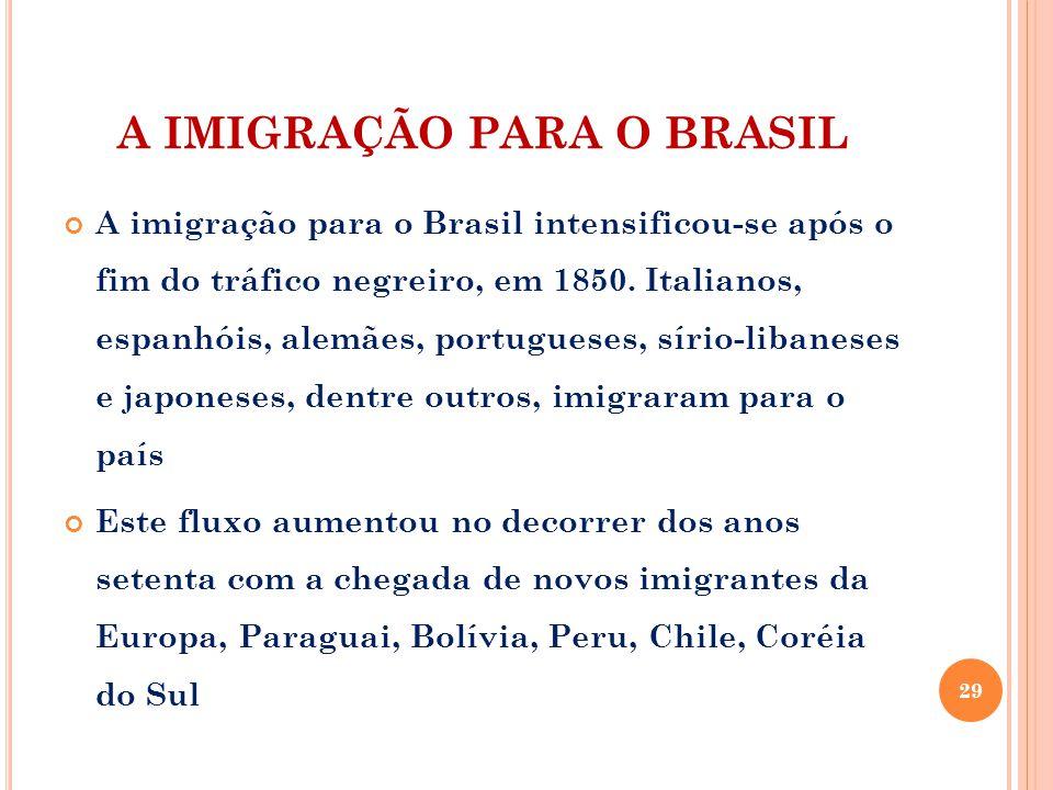 A IMIGRAÇÃO PARA O BRASIL A imigração para o Brasil intensificou-se após o fim do tráfico negreiro, em 1850. Italianos, espanhóis, alemães, portuguese