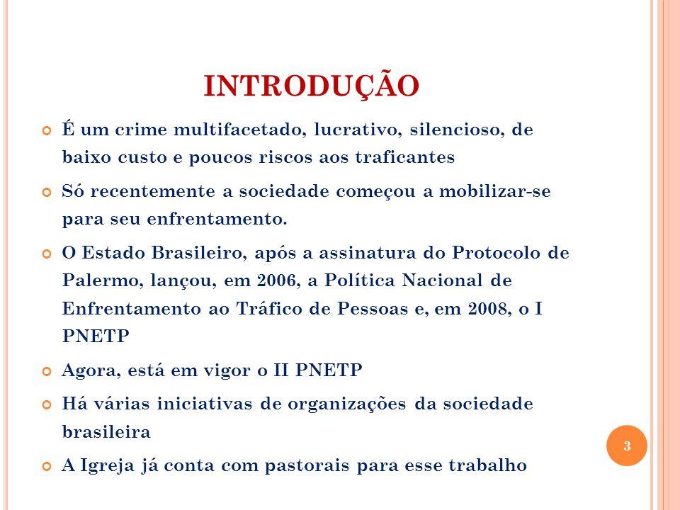 INTRODUÇÃO É um crime multifacetado, lucrativo, silencioso, de baixo custo e poucos riscos aos traficantes Só recentemente a sociedade começou a mobil