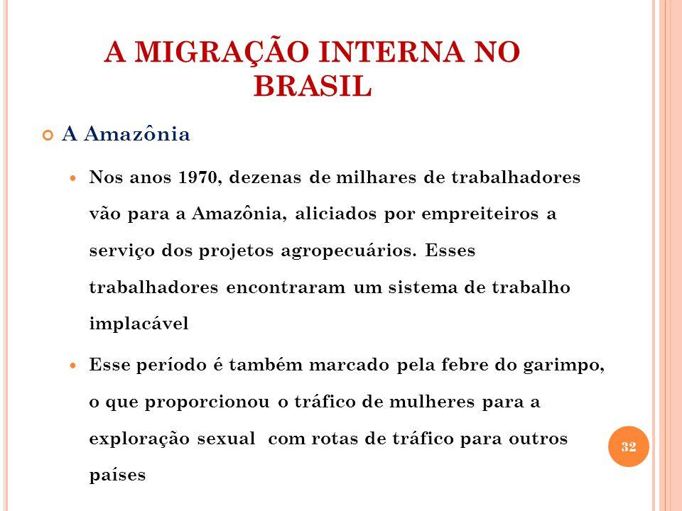A MIGRAÇÃO INTERNA NO BRASIL A Amazônia Nos anos 1970, dezenas de milhares de trabalhadores vão para a Amazônia, aliciados por empreiteiros a serviço dos projetos agropecuários.