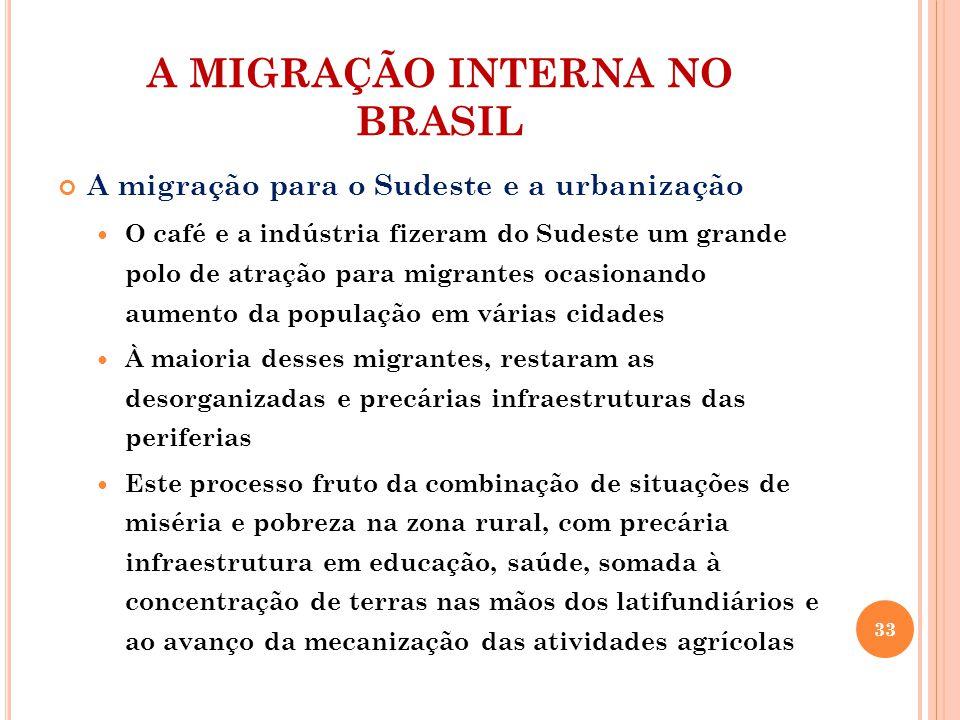 A MIGRAÇÃO INTERNA NO BRASIL A migração para o Sudeste e a urbanização O café e a indústria fizeram do Sudeste um grande polo de atração para migrante