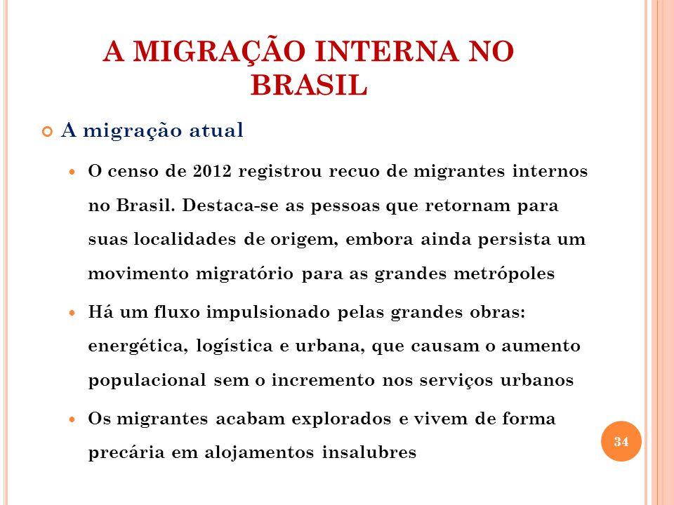A MIGRAÇÃO INTERNA NO BRASIL A migração atual O censo de 2012 registrou recuo de migrantes internos no Brasil. Destaca-se as pessoas que retornam para