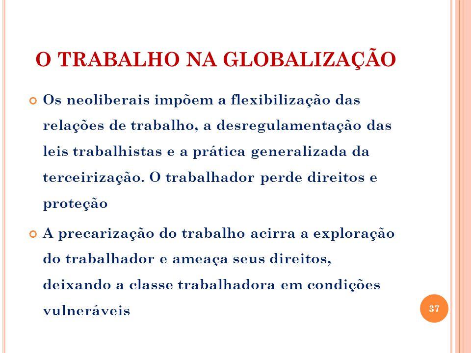 O TRABALHO NA GLOBALIZAÇÃO Os neoliberais impõem a flexibilização das relações de trabalho, a desregulamentação das leis trabalhistas e a prática generalizada da terceirização.