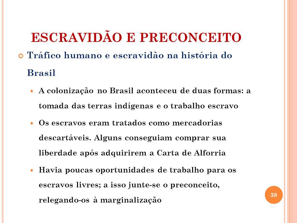 ESCRAVIDÃO E PRECONCEITO Tráfico humano e escravidão na história do Brasil A colonização no Brasil aconteceu de duas formas: a tomada das terras indígenas e o trabalho escravo Os escravos eram tratados como mercadorias descartáveis.
