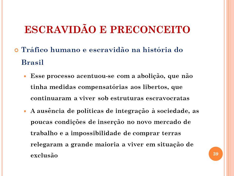 ESCRAVIDÃO E PRECONCEITO Tráfico humano e escravidão na história do Brasil Esse processo acentuou-se com a abolição, que não tinha medidas compensatór