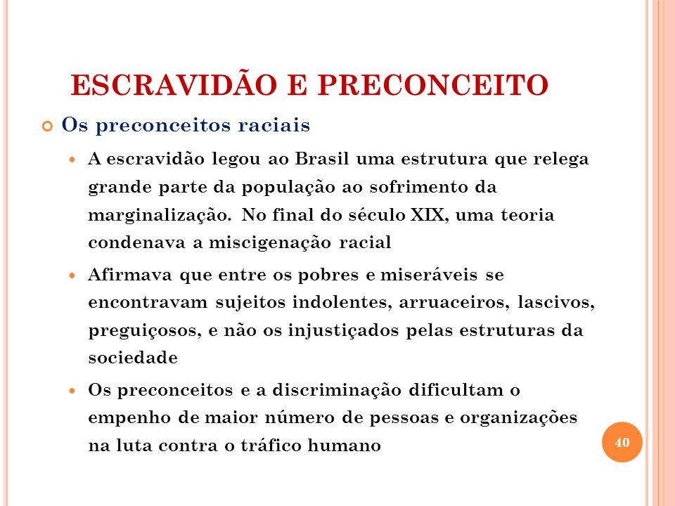 ESCRAVIDÃO E PRECONCEITO Os preconceitos raciais A escravidão legou ao Brasil uma estrutura que relega grande parte da população ao sofrimento da marginalização.