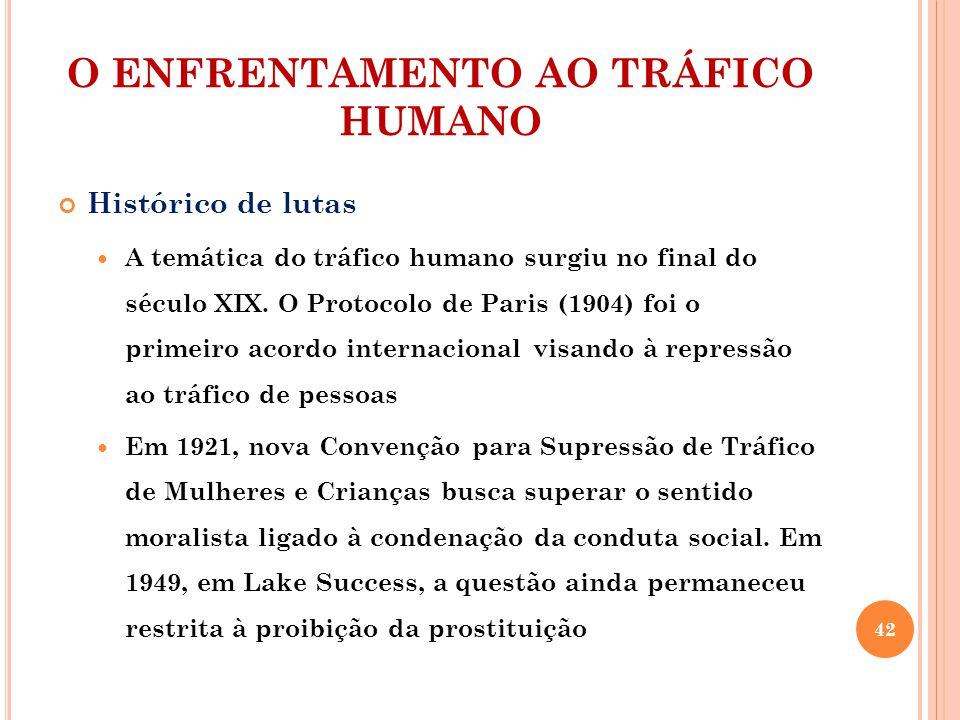 O ENFRENTAMENTO AO TRÁFICO HUMANO Histórico de lutas A temática do tráfico humano surgiu no final do século XIX. O Protocolo de Paris (1904) foi o pri