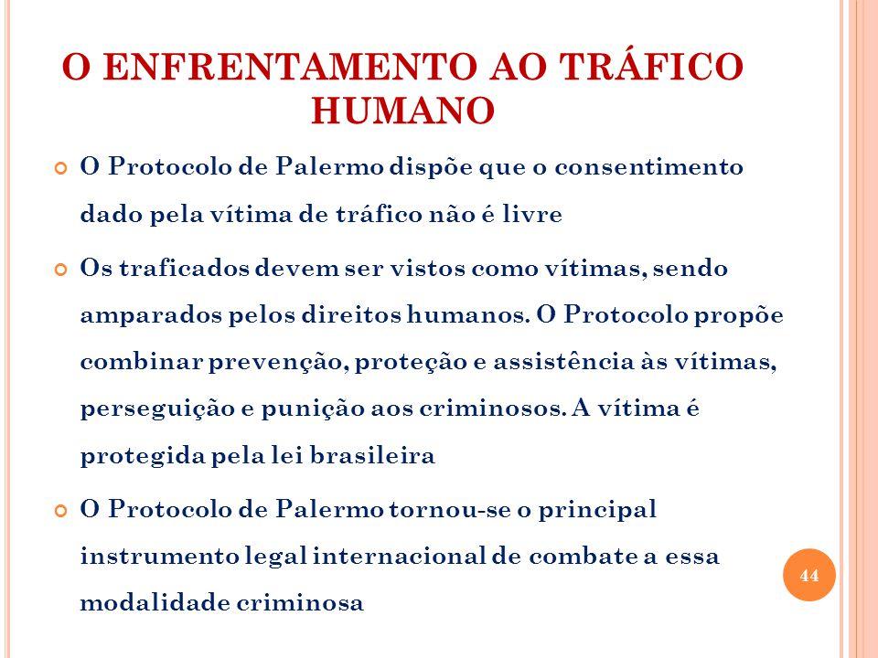 O ENFRENTAMENTO AO TRÁFICO HUMANO O Protocolo de Palermo dispõe que o consentimento dado pela vítima de tráfico não é livre Os traficados devem ser vistos como vítimas, sendo amparados pelos direitos humanos.