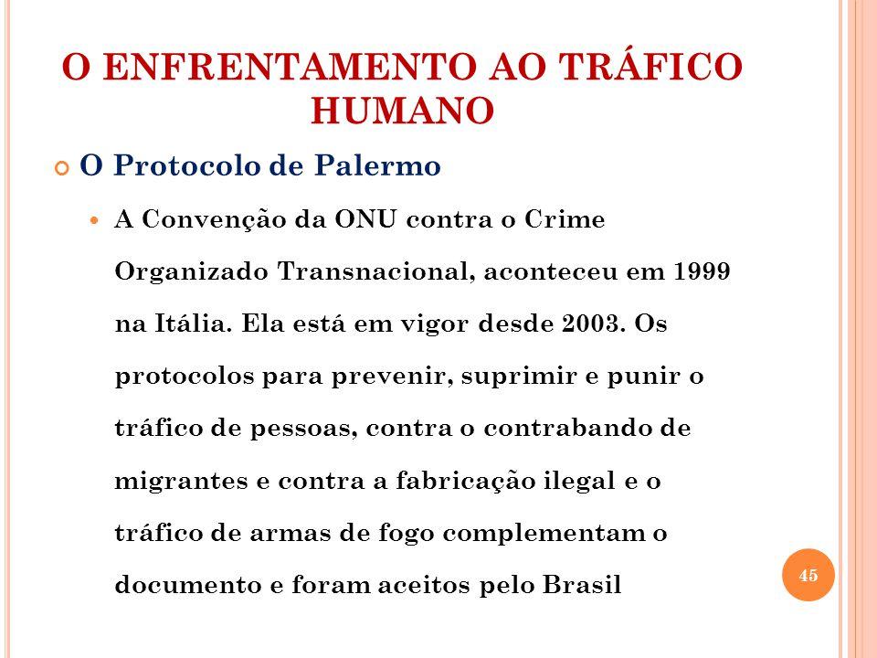 O ENFRENTAMENTO AO TRÁFICO HUMANO O Protocolo de Palermo A Convenção da ONU contra o Crime Organizado Transnacional, aconteceu em 1999 na Itália. Ela