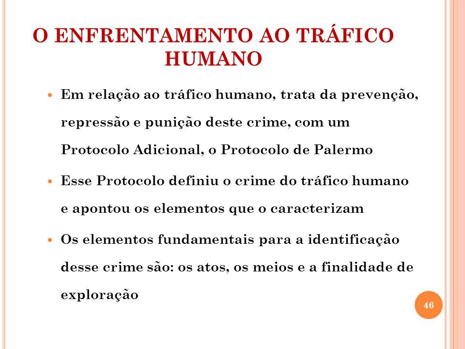 O ENFRENTAMENTO AO TRÁFICO HUMANO Em relação ao tráfico humano, trata da prevenção, repressão e punição deste crime, com um Protocolo Adicional, o Pro