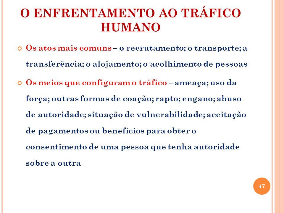 O ENFRENTAMENTO AO TRÁFICO HUMANO Os atos mais comuns – o recrutamento; o transporte; a transferência; o alojamento; o acolhimento de pessoas Os meios