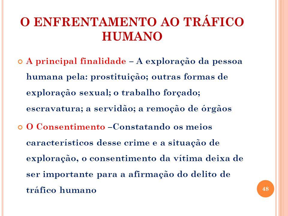 O ENFRENTAMENTO AO TRÁFICO HUMANO A principal finalidade – A exploração da pessoa humana pela: prostituição; outras formas de exploração sexual; o tra