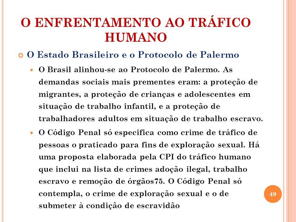 O ENFRENTAMENTO AO TRÁFICO HUMANO O Estado Brasileiro e o Protocolo de Palermo O Brasil alinhou-se ao Protocolo de Palermo. As demandas sociais mais p
