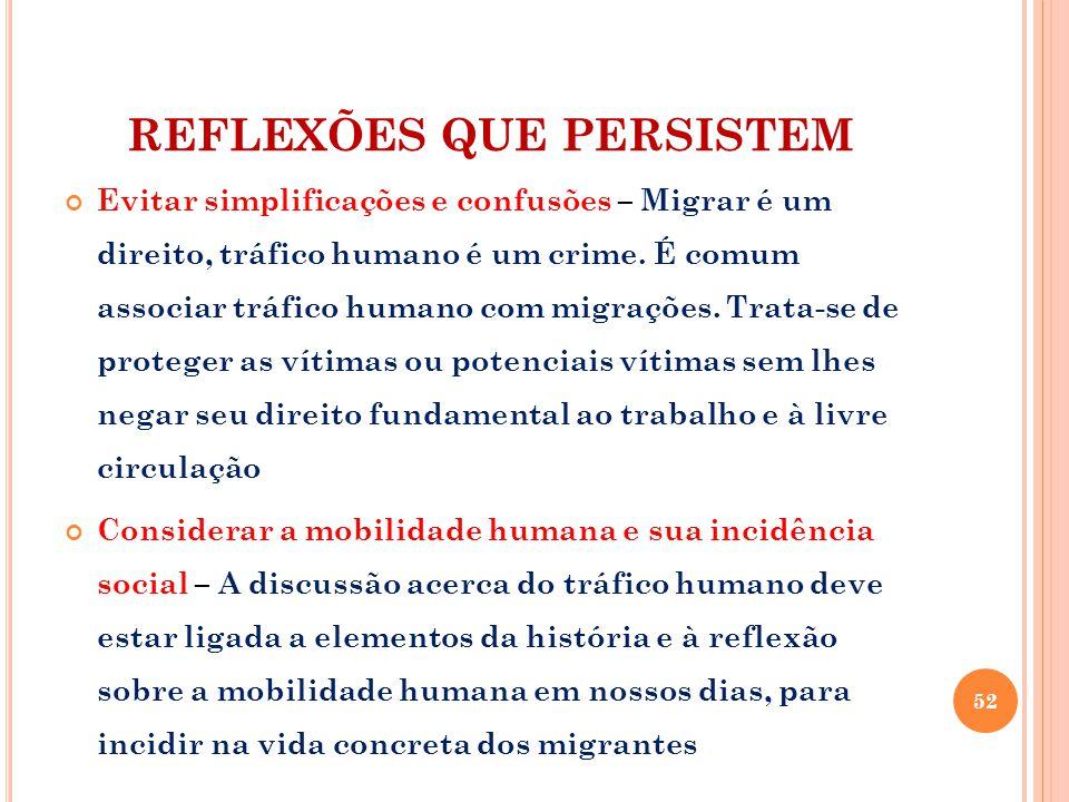 REFLEXÕES QUE PERSISTEM Evitar simplificações e confusões – Migrar é um direito, tráfico humano é um crime. É comum associar tráfico humano com migraç