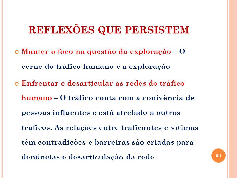 REFLEXÕES QUE PERSISTEM Manter o foco na questão da exploração – O cerne do tráfico humano é a exploração Enfrentar e desarticular as redes do tráfico humano – O tráfico conta com a conivência de pessoas influentes e está atrelado a outros tráficos.