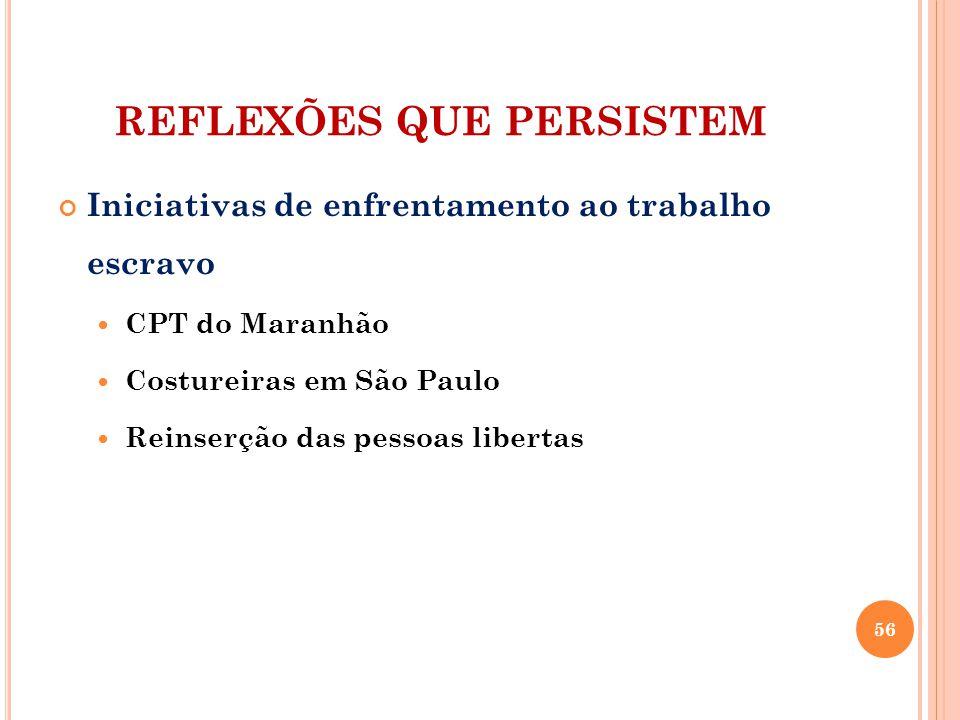 REFLEXÕES QUE PERSISTEM Iniciativas de enfrentamento ao trabalho escravo CPT do Maranhão Costureiras em São Paulo Reinserção das pessoas libertas 56