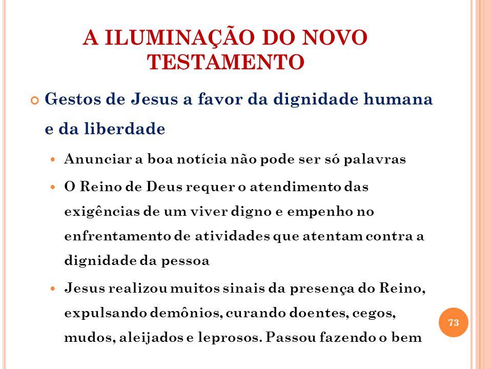 A ILUMINAÇÃO DO NOVO TESTAMENTO Gestos de Jesus a favor da dignidade humana e da liberdade Anunciar a boa notícia não pode ser só palavras O Reino de