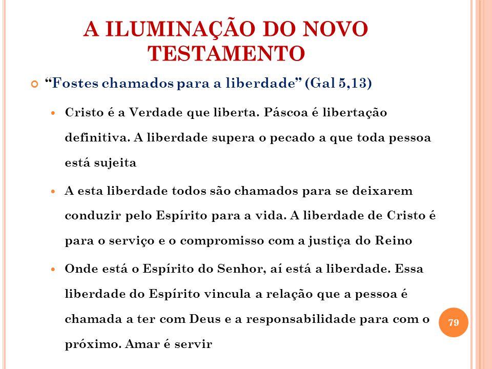 """A ILUMINAÇÃO DO NOVO TESTAMENTO """"Fostes chamados para a liberdade"""" (Gal 5,13) Cristo é a Verdade que liberta. Páscoa é libertação definitiva. A liberd"""
