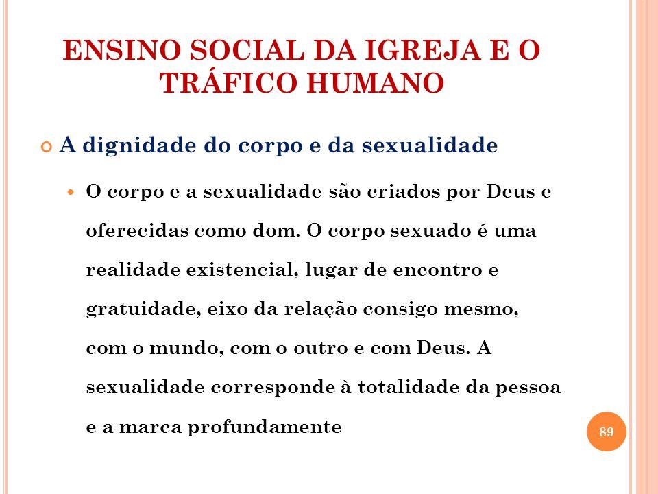 ENSINO SOCIAL DA IGREJA E O TRÁFICO HUMANO A dignidade do corpo e da sexualidade O corpo e a sexualidade são criados por Deus e oferecidas como dom. O