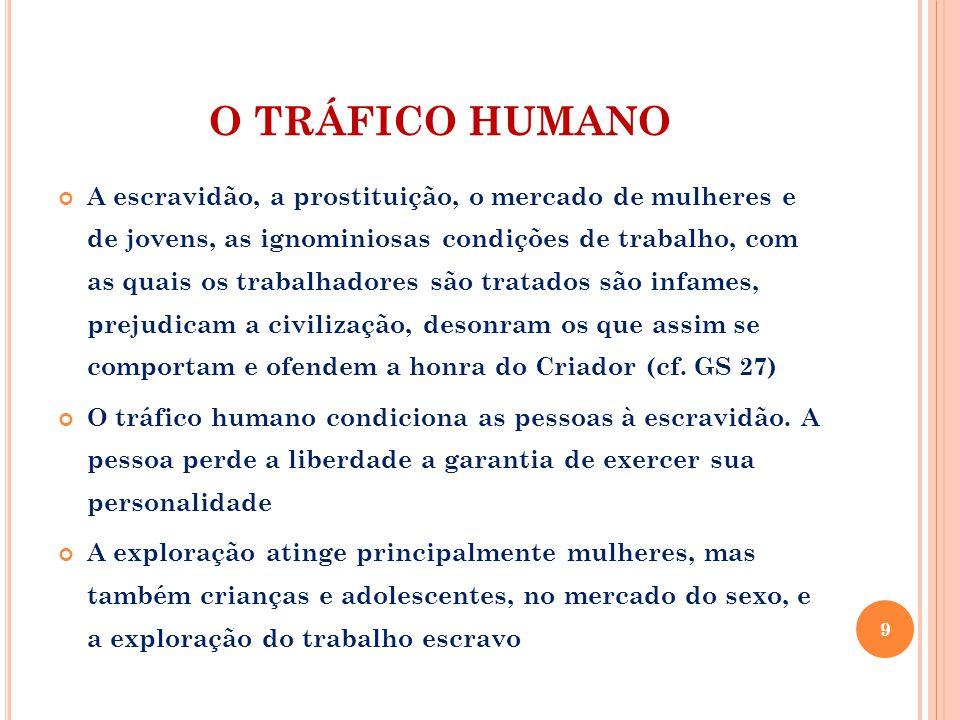 O TRÁFICO HUMANO A escravidão, a prostituição, o mercado de mulheres e de jovens, as ignominiosas condições de trabalho, com as quais os trabalhadores