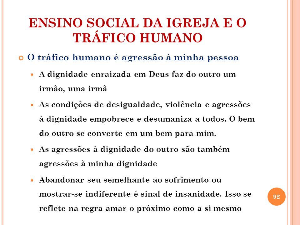 ENSINO SOCIAL DA IGREJA E O TRÁFICO HUMANO O tráfico humano é agressão à minha pessoa A dignidade enraizada em Deus faz do outro um irmão, uma irmã As condições de desigualdade, violência e agressões à dignidade empobrece e desumaniza a todos.