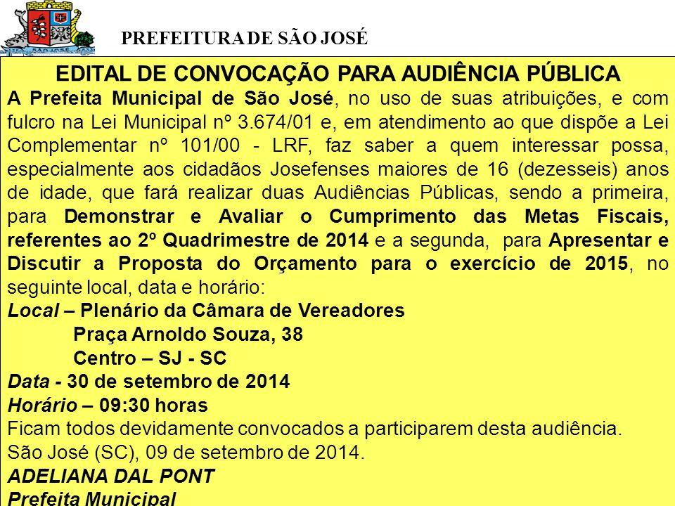PREFEITURA DE SÃO JOSÉ EDITAL DE CONVOCAÇÃO PARA AUDIÊNCIA PÚBLICA A Prefeita Municipal de São José, no uso de suas atribuições, e com fulcro na Lei Municipal nº 3.674/01 e, em atendimento ao que dispõe a Lei Complementar nº 101/00 - LRF, faz saber a quem interessar possa, especialmente aos cidadãos Josefenses maiores de 16 (dezesseis) anos de idade, que fará realizar duas Audiências Públicas, sendo a primeira, para Demonstrar e Avaliar o Cumprimento das Metas Fiscais, referentes ao 2º Quadrimestre de 2014 e a segunda, para Apresentar e Discutir a Proposta do Orçamento para o exercício de 2015, no seguinte local, data e horário: Local – Plenário da Câmara de Vereadores Praça Arnoldo Souza, 38 Centro – SJ - SC Data - 30 de setembro de 2014 Horário – 09:30 horas Ficam todos devidamente convocados a participarem desta audiência.