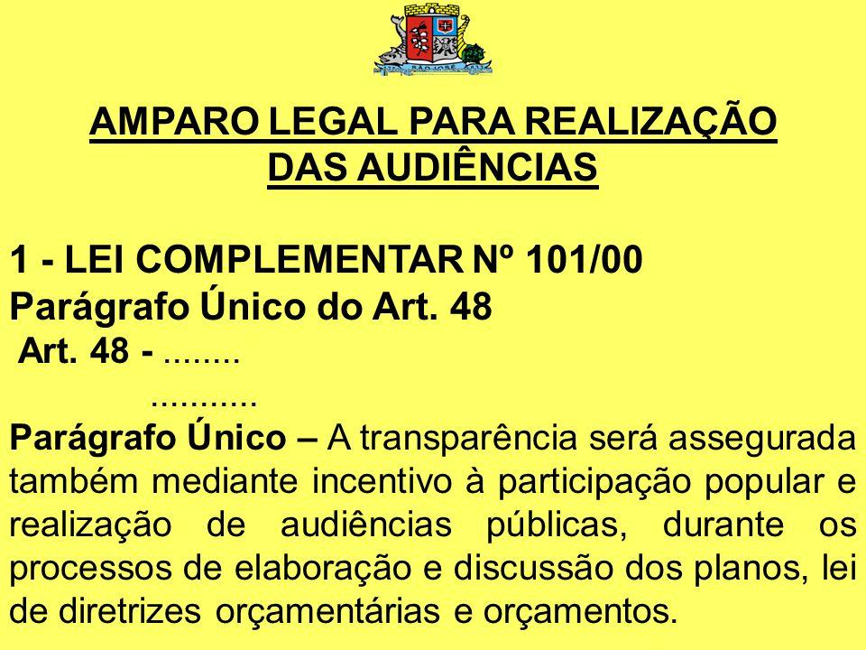 AMPARO LEGAL PARA REALIZAÇÃO DAS AUDIÊNCIAS 1 - LEI COMPLEMENTAR Nº 101/00 Parágrafo Único do Art.
