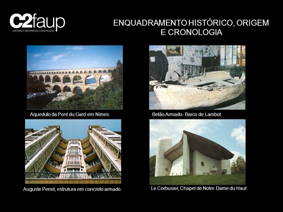 ENQUADRAMENTO HISTÓRICO, ORIGEM E CRONOLOGIA Aqueduto da Pont du Gard em Nimes Betão Armado- Barco de Lambot. Auguste Perret, estrutura em concreto ar