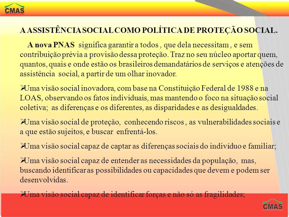 A POLÍTICA PÚBLICA NACIONAL DE ASSISTÊNCIA SOCIAL P N A S - 2004. APROVADA EM 15 DE OUTUBRO DE 2004. A nova Política Nacional de Assistência Social bu