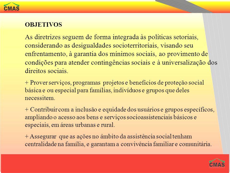 Diretrizes A organização da Assistência Social tem as seguintes diretrizes, baseadas na Constituição Federal e na LOAS I – Descentralização político-a