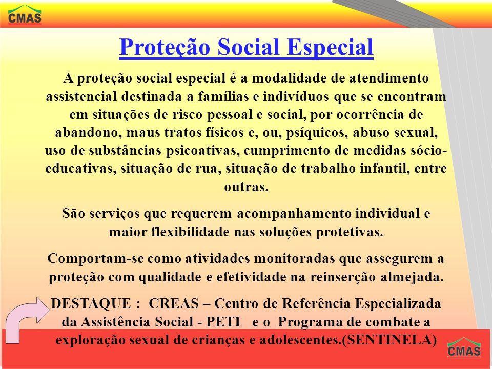 Proteção Social Especial A ênfase da proteção social especial deve priorizar a reestruturação dos serviços de abrigamento dos indivíduos que, por um s