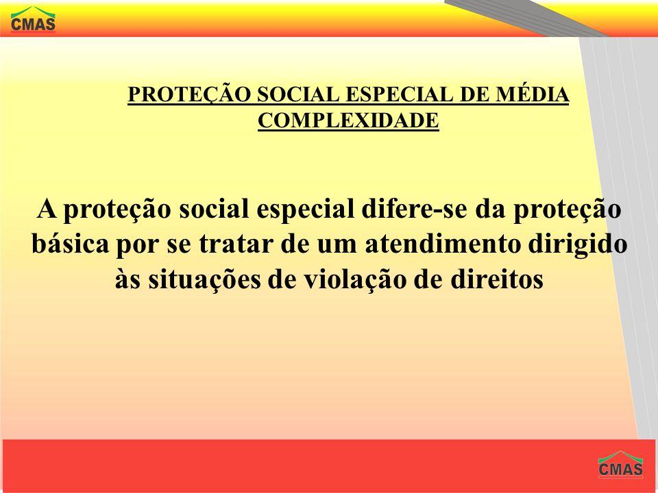 PROTEÇÃO SOCIAL ESPECIAL DE MÉDIA COMPLEXIDADE São considerados serviços de média complexidade aqueles que oferecem atendimentos às familiar e indivíd