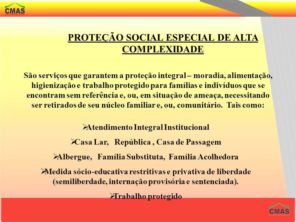 PROTEÇÃO SOCIAL ESPECIAL DE MÉDIA COMPLEXIDADE A proteção social especial difere-se da proteção básica por se tratar de um atendimento dirigido às sit