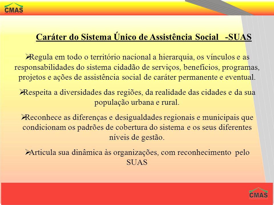Caráter do Sistema Único de Assistência Social -SUAS O SUAS é sistema público não contributivo, descentralizado e participativo que tem por função a g